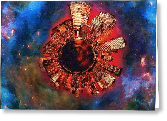 Night Scenes Greeting Cards - Wee Manhattan Planet - Artist Rendition Greeting Card by Nikki Marie Smith
