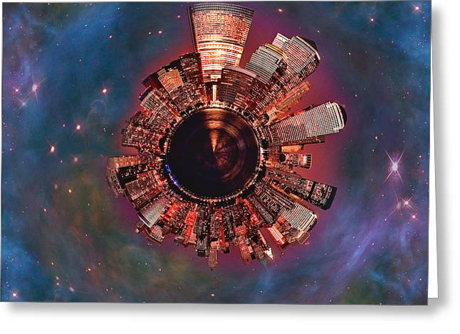 Night Scenes Greeting Cards - Wee Manhattan Planet Greeting Card by Nikki Marie Smith