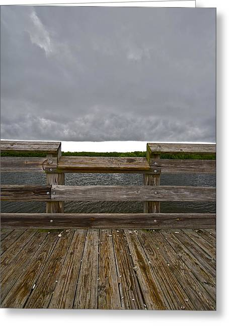 St Petersburg Florida Greeting Cards - Weedon Island Pier Storm Greeting Card by William  Carson Jr