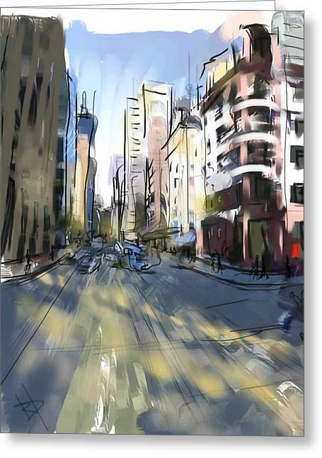 Dappled Sunlight Greeting Cards - Weekend City Greeting Card by Russell Pierce