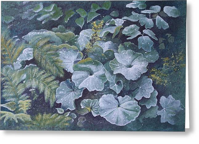 Patsy Sharpe Paintings Greeting Cards - Weeping Ladies Mantle Greeting Card by Patsy Sharpe