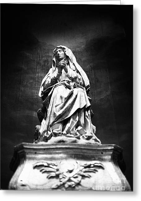 Religious Photographs Greeting Cards - Weeping Madonna Greeting Card by Gaspar Avila