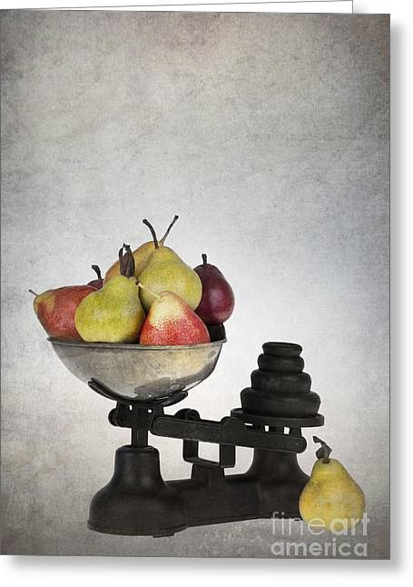 Organic Greeting Cards - Weighing pears Greeting Card by Jane Rix