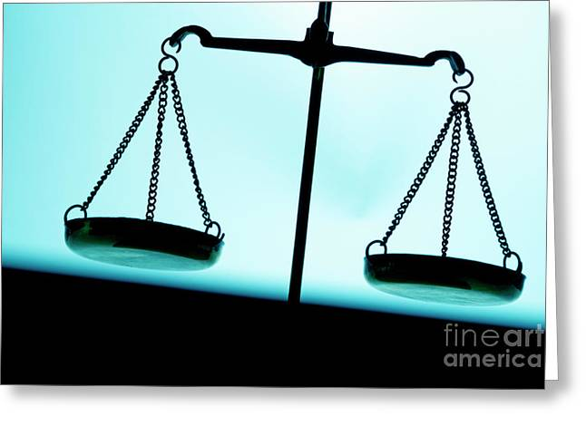 Equality Greeting Cards - Weighing scales Greeting Card by Sami Sarkis