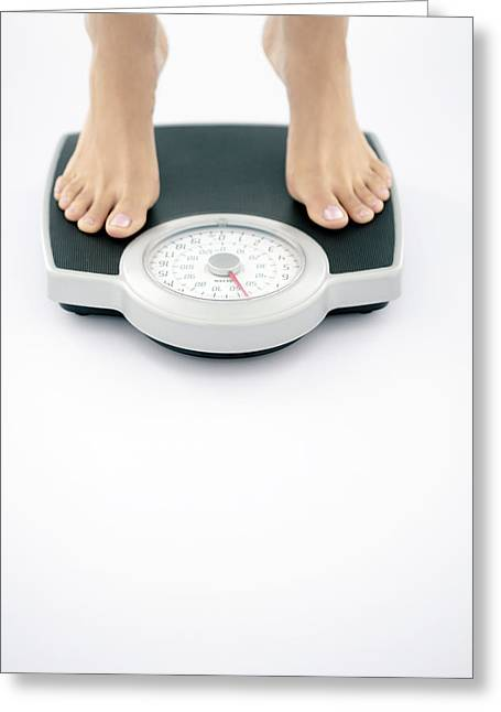 Eating Disorders Greeting Cards - Weight Measurement Greeting Card by Gavin Kingcome