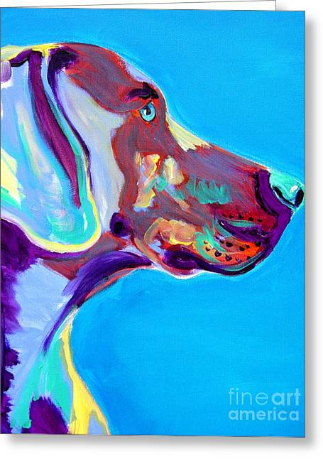 Animals Paintings Greeting Cards - Weimaraner - Blue Greeting Card by Alicia VanNoy Call