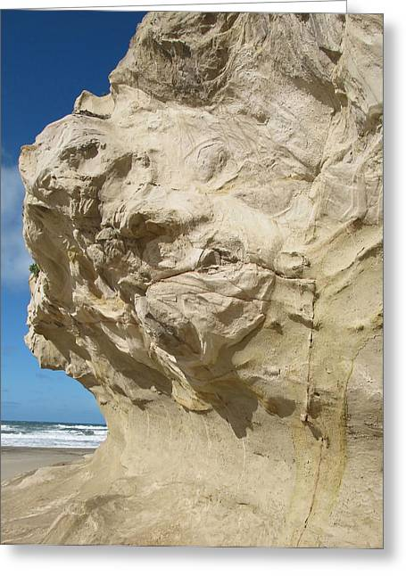 Ocean Vista Greeting Cards - Weird Sand Cliff Greeting Card by Mary Lane