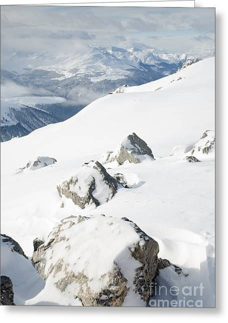 Clouds Photographs Greeting Cards - WEISSFLUHGIPFEL SUMMIT P view from summit in winter Greeting Card by Andy Smy