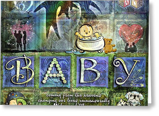 Baby Digital Art Greeting Cards - Welcome Baby Boy Greeting Card by Evie Cook