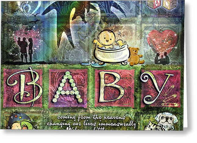 Baby Digital Art Greeting Cards - Welcome Baby Girl Greeting Card by Evie Cook