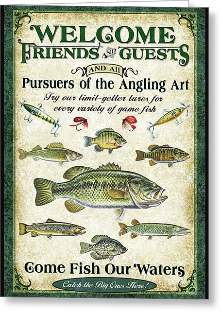 Angling Greeting Cards - Welcome Friends Sign Greeting Card by JQ Licensing