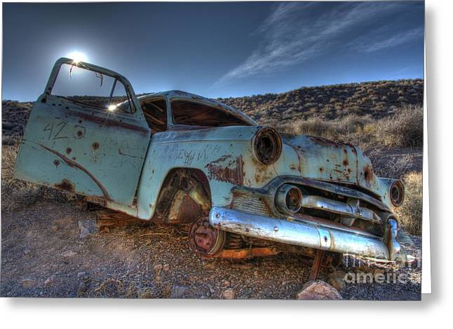Forgotten Cars Greeting Cards - Welcome To Death Valley Greeting Card by Bob Christopher