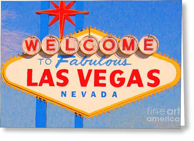 Roadside Architecture Greeting Cards - Welcome To Fabulous Las Vegas Nevada Greeting Card by Wingsdomain Art and Photography