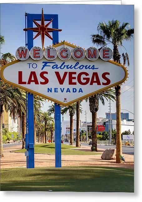 Las Vegas Art Greeting Cards - Welcome to Las Vegas Cartoony Greeting Card by Ricky Barnard