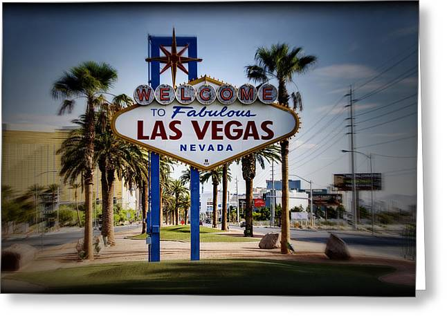 Las Vegas Art Greeting Cards - Welcome To Las Vegas Series Color Holga Greeting Card by Ricky Barnard
