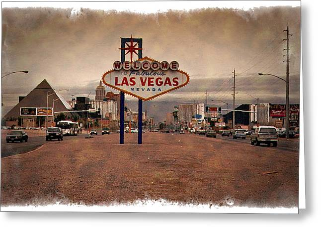 Las Vegas Art Greeting Cards - Welcome To Las Vegas Sign 1997 - IMPRESSIONS Greeting Card by Ricky Barnard