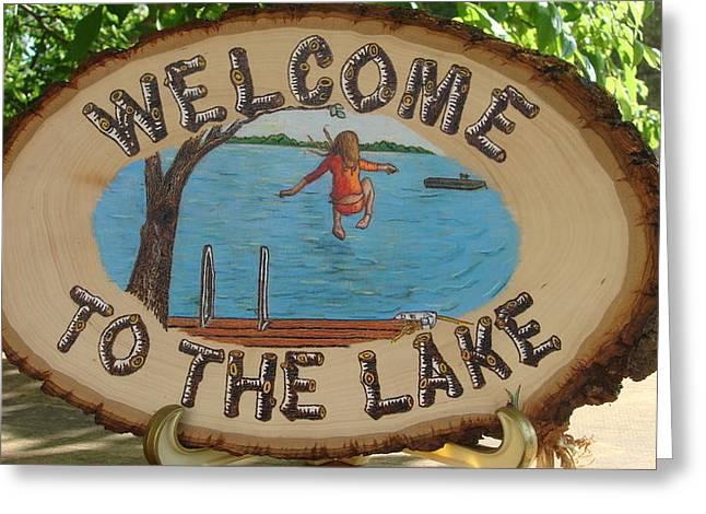 Nostalgic Pyrography Greeting Cards - Welcome to the Lake Greeting Card by Dakota Sage