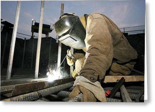 Welder Greeting Cards - Welder Working On A New Bridge Greeting Card by Ria Novosti