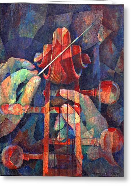 Cello Greeting Cards - Well Conducted - Painting of Cello Head and Conductors Hands Greeting Card by Susanne Clark