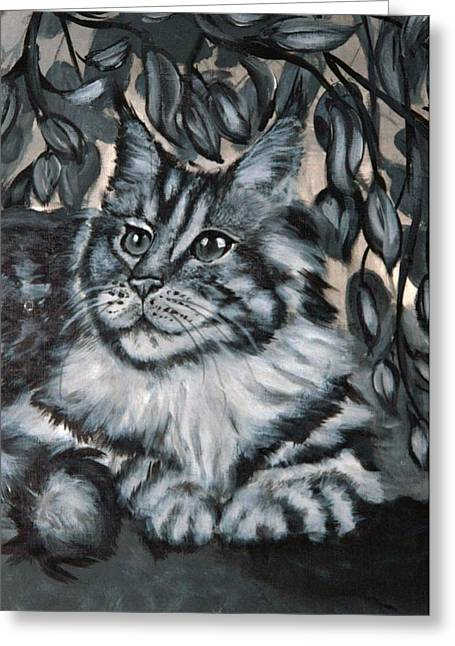 Well Fed Cat Greeting Card by Elena Melnikova