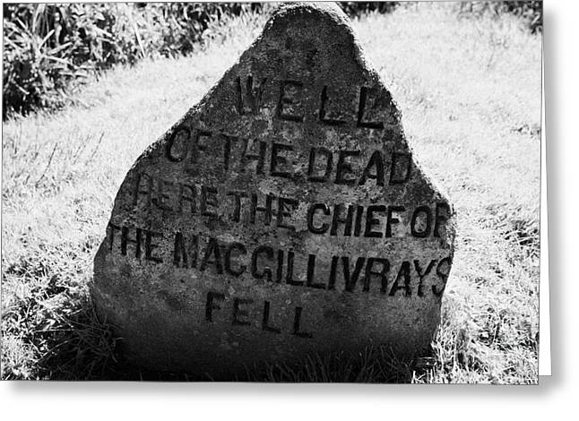 Battlefield Site Greeting Cards - well of the dead and clan macgillivray memorial stone on Culloden moor battlefield site highlands sc Greeting Card by Joe Fox