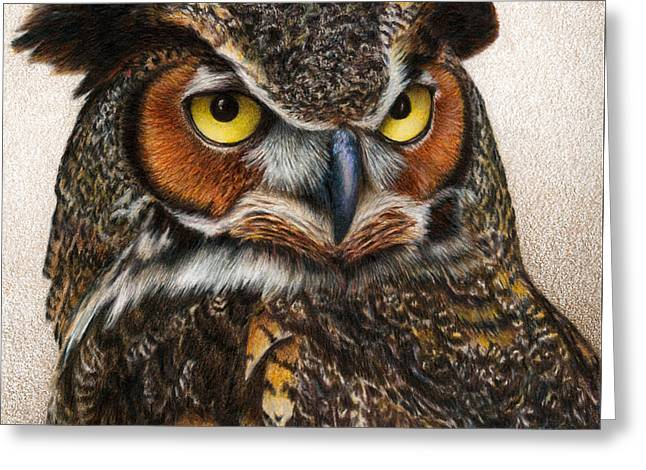Great-horned Owls Greeting Cards - Well...  Greeting Card by Pat Erickson