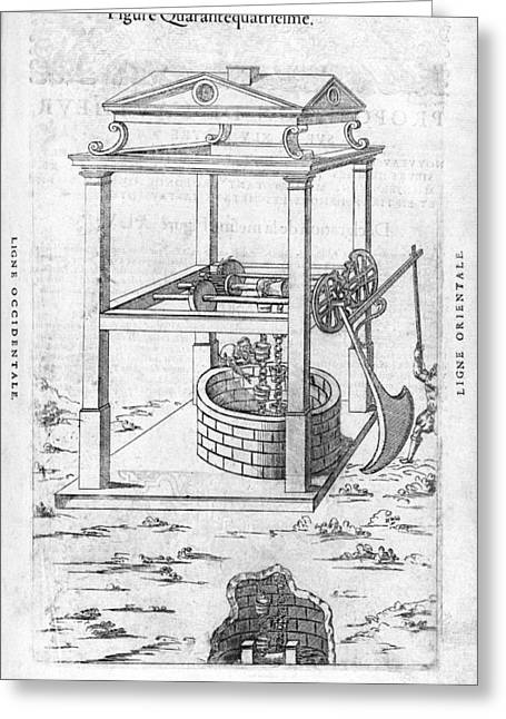 Female Worker Greeting Cards - Well Pulley System, 16th Century Artwork Greeting Card by Middle Temple Library