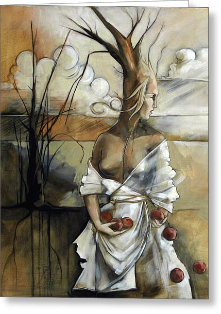 Apple Paintings Greeting Cards - Well Suited Tree Woman Greeting Card by Jacque Hudson