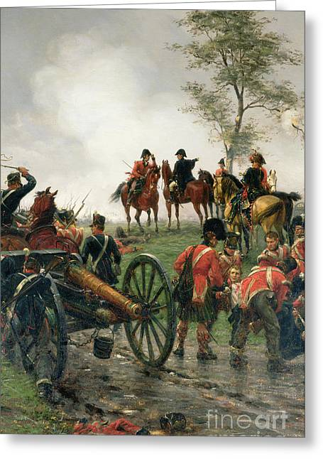 Wellington At Waterloo Greeting Card by Ernest Crofts