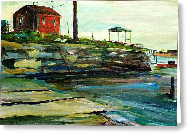 Scott Nelson Paintings Greeting Cards - Wells Harbor Maine Greeting Card by Scott Nelson