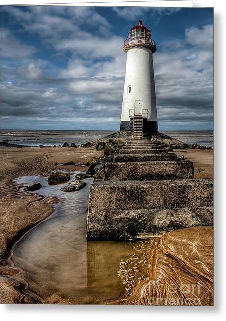 Dome Light Greeting Cards - Welsh Lighthouse  Greeting Card by Adrian Evans