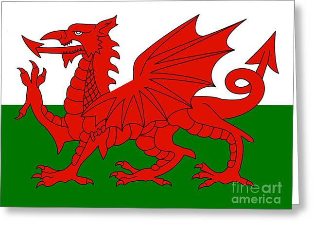 Www.picsl8.co.uk Greeting Cards - Welsh national flag Greeting Card by Steev Stamford