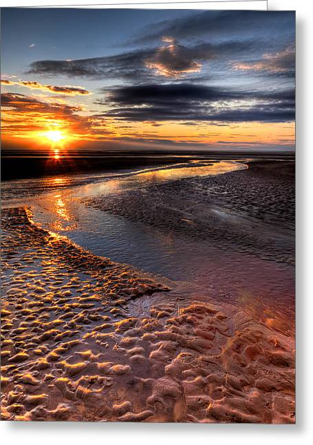 Nature Scene Digital Art Greeting Cards - Welsh Sunset Greeting Card by Adrian Evans