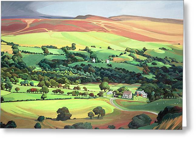 Farm Building Greeting Cards - Welsh Valley Greeting Card by Anna Teasdale