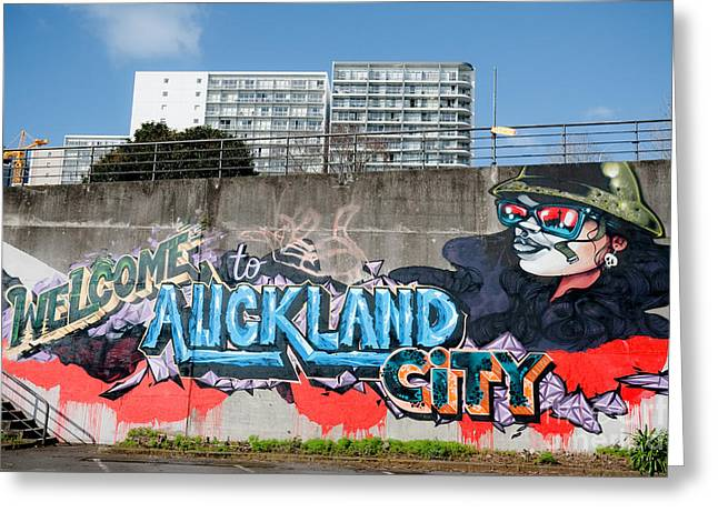 Aerosol Paintings Greeting Cards - Welsome to Auckland City Greeting Card by Yurix Sardinelly