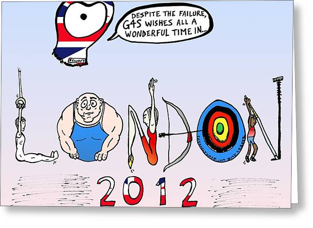 Editorial Drawings Greeting Cards - Welsome to the 2012 London Olympics Greeting Card by Yasha Harari