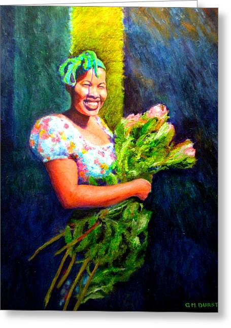Cape Town Paintings Greeting Cards - Wendy the Flower Seller Greeting Card by Michael Durst