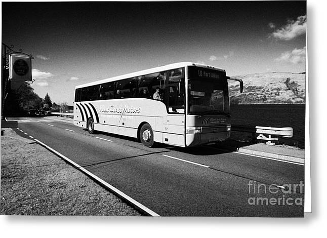 Low Road Greeting Cards - West Coast Motors Bus Coach On The Main A82 Tourist Route Road Along The Shores Of Loch Linnhe Near  Greeting Card by Joe Fox