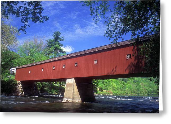 Connecticut Covered Bridge Greeting Cards - West Cornwall Covered Bridge Greeting Card by John Burk