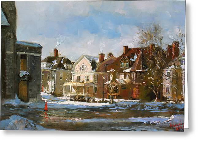 Church Street Greeting Cards - West Ferry Street Greeting Card by Ylli Haruni