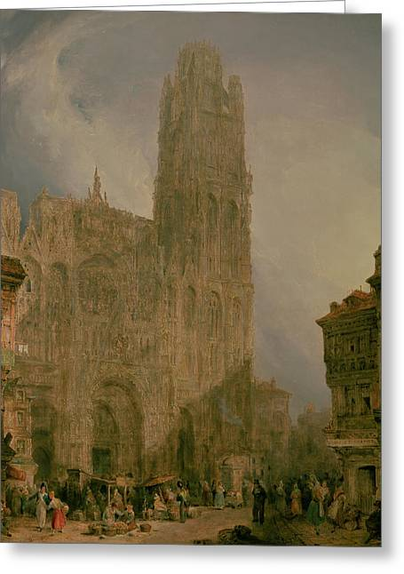 Gathering Greeting Cards - West Front of Notre Dame Greeting Card by David Roberts