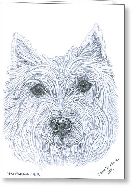 Doggy Drawings Greeting Cards - West Highland Terrier Greeting Card by Yvonne Johnstone