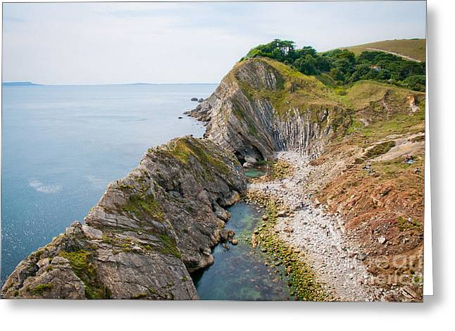 Coast Greeting Cards - WEST LULWORTH LAGOON the natural lagoon behind the jurassic cliffs west of lulworth cove dorset Greeting Card by Andy Smy