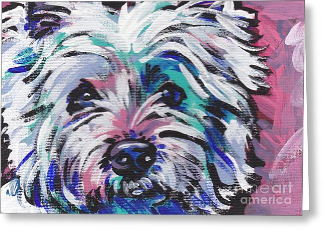 Recently Sold -  - Puppies Paintings Greeting Cards - West of the Wall Greeting Card by Lea