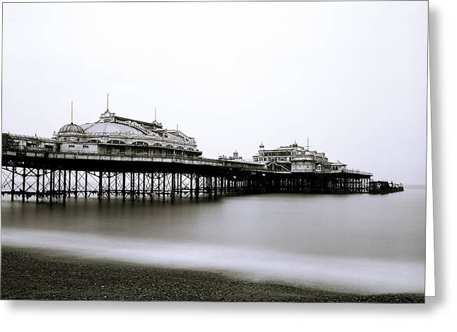 Ethereal Beach Scene Greeting Cards - West Pier in Brighton in the UK Greeting Card by Shaun Higson
