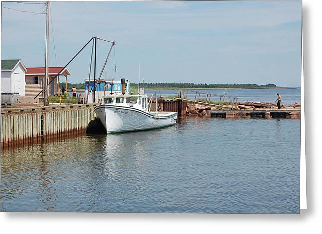 Docked Boat Greeting Cards - West Point PEI Greeting Card by Colleen English