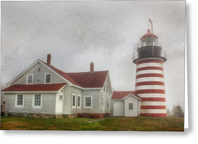 West Quoddy Head Lighthouse Greeting Card by Lori Deiter