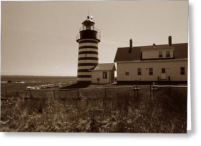 West Quoddy Light Greeting Cards - West Quoddy Lighthouse Greeting Card by Skip Willits