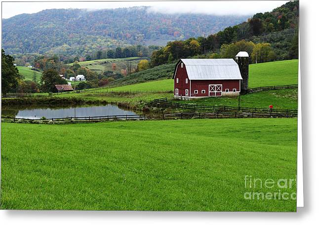 Board Fence Greeting Cards - West Virginia Red Barn Greeting Card by Thomas R Fletcher