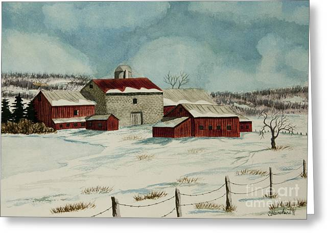 Winter Farm Scenes Greeting Cards - West Winfield Farm Greeting Card by Charlotte Blanchard